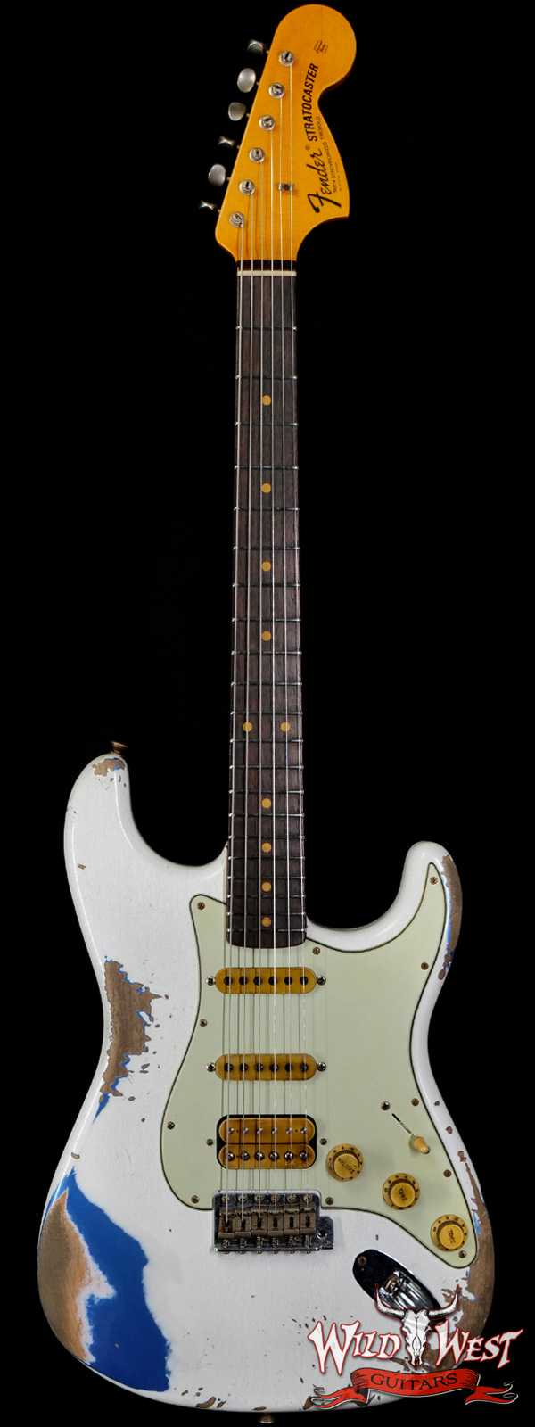 Fender Custom Shop Wild West White Lightning Stratocaster 2.0 Heavy Relic Rosewood Fingeboard Lake Placid Blue