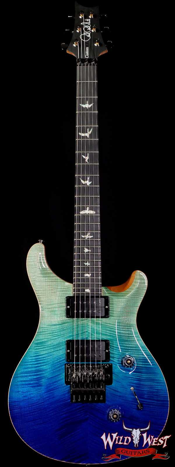 PRS Wood Library 10 Top Custom 24 Floyd Rose Ebony Fingerboard AAA Flame Maple Neck Blue Fade