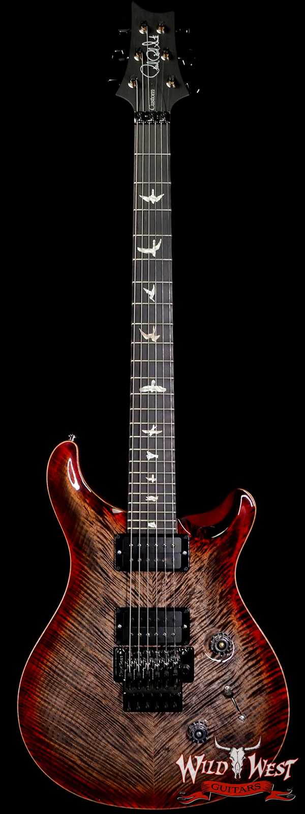 PRS Wood Library 10 Top Custom 24 Floyd Rose Roasted Flame Maple Neck Charcoal Cherry Burst