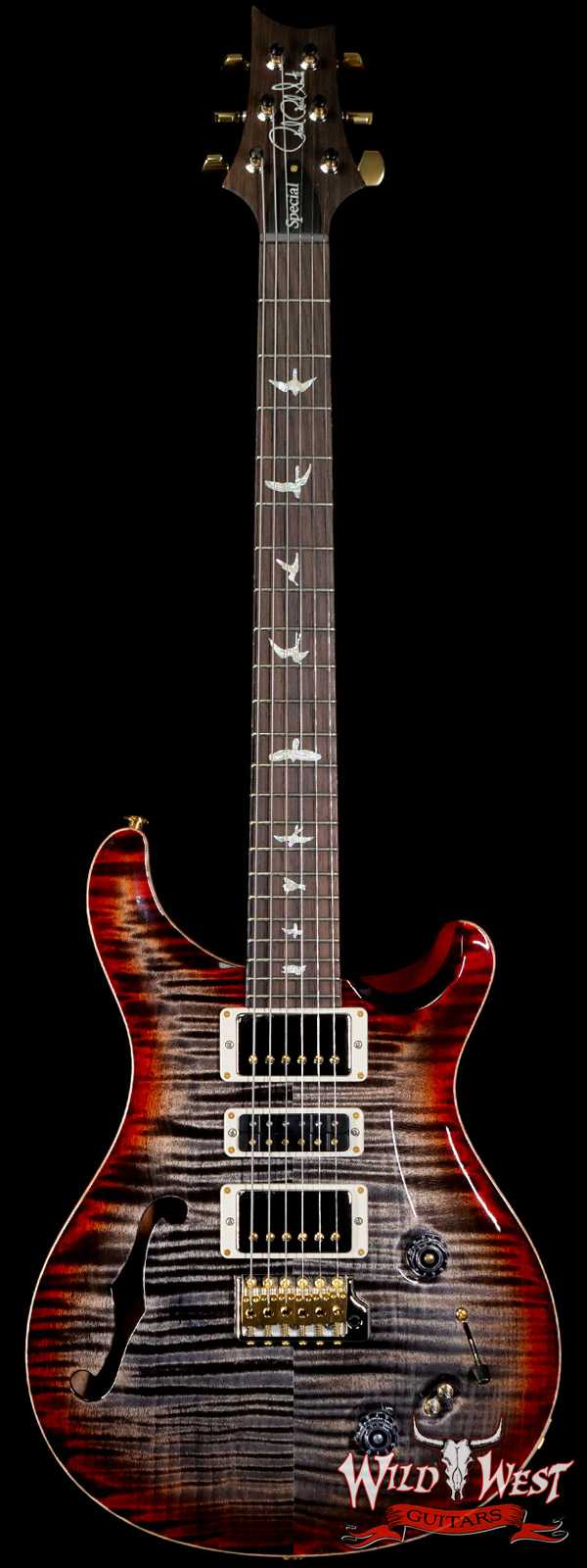 PRS Wood Library 10 Top Special 22 Semi-Hollow Flame Maple Stained Neck Brazilian Rosewood Charcoal Cherry Burst