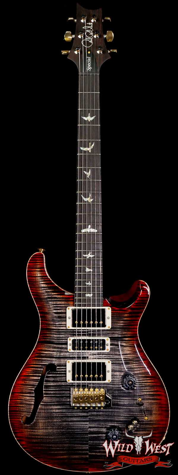 PRS Wood Library 10 Top Special 22 Semi-Hollow Flame Mahogany Neck Brazilian Rosewood Charcoal Cherry Burst