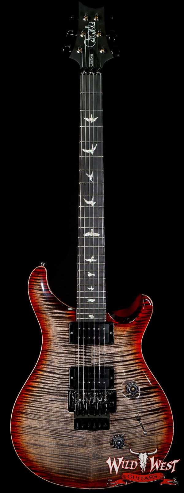 PRS Wood Library 10 Top Custom 24 Floyd Rose Ebony Fingerboard AAA Flame Maple Neck Charcoal Cherry Burst
