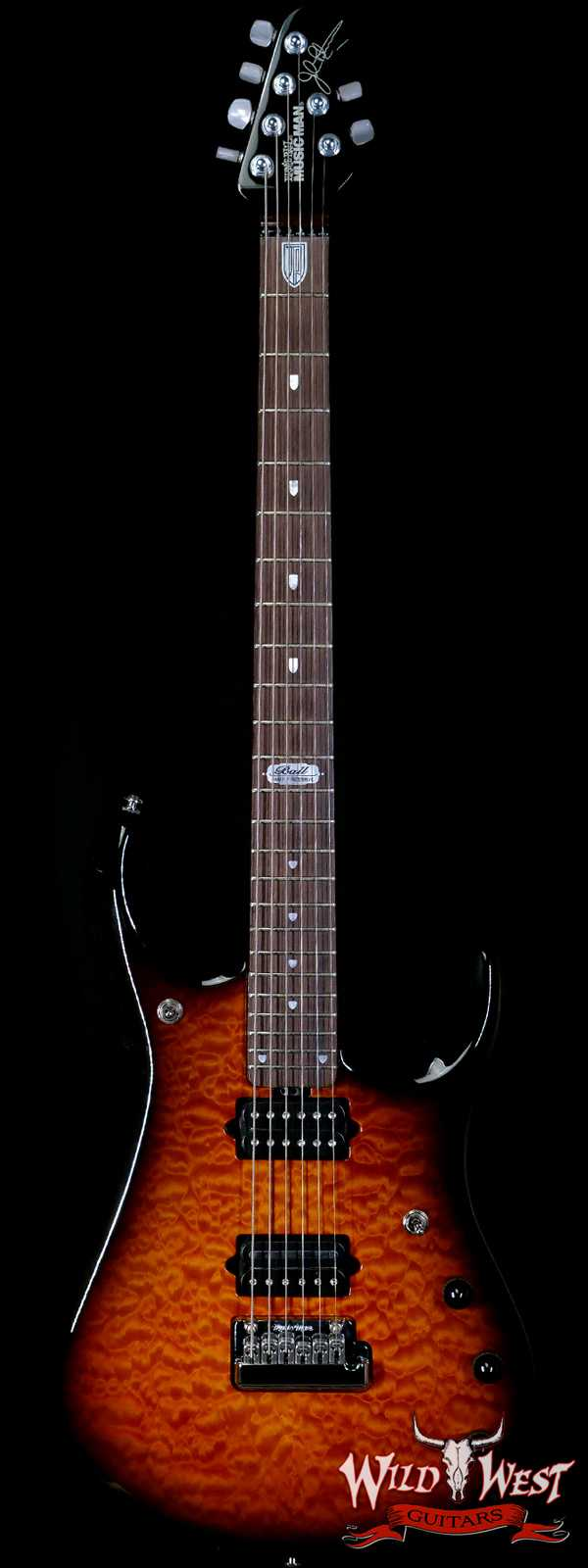 2009 Ernie Ball Music Man BFR JP-6 Baritone Quilt Maple Top Tobacco Sunburst Owned by John Petrucci and Kevin Shirley