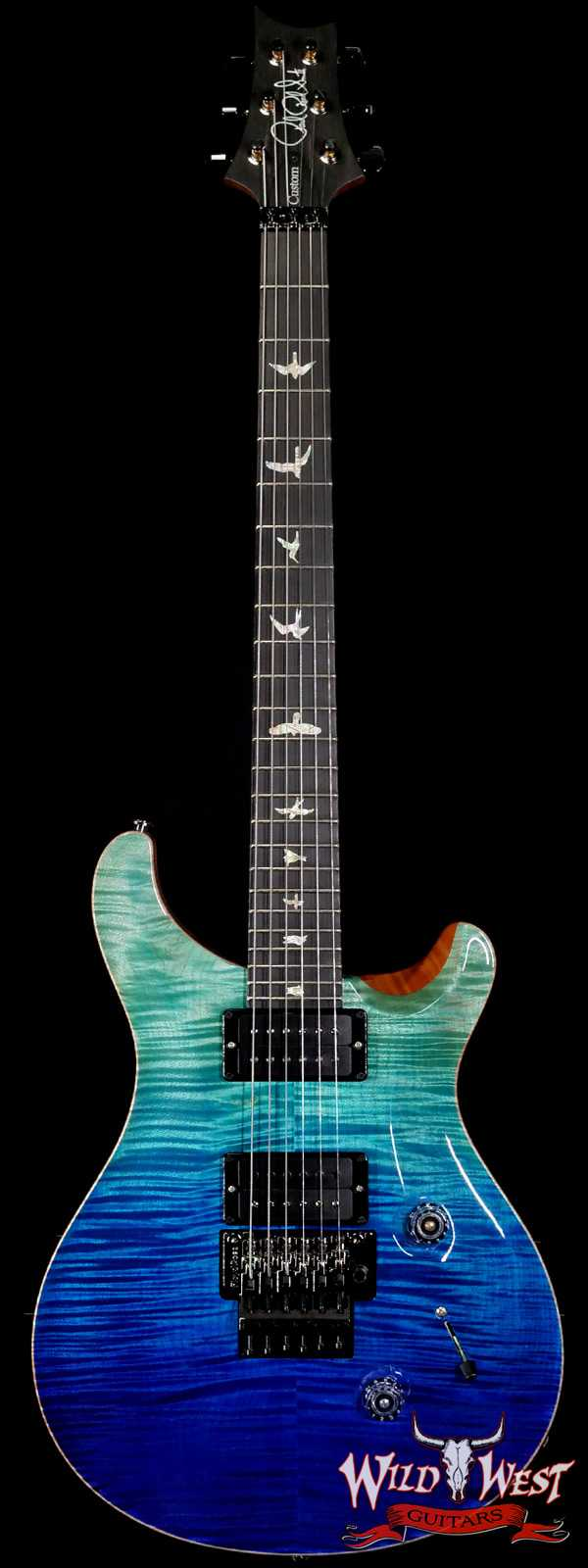 Paul Reed Smith PRS Wood Library 10 Top Custom 24 Floyd Rose Roasted Flame Maple Neck Blue Fade