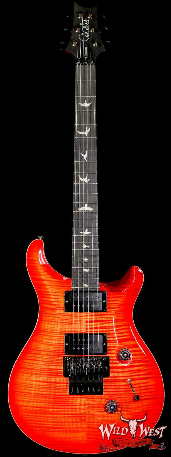 PRS Wood Library 10 Top Custom 24 Floyd Rose Ebony Fingerboard AAA Flame Maple Neck Blood Orange