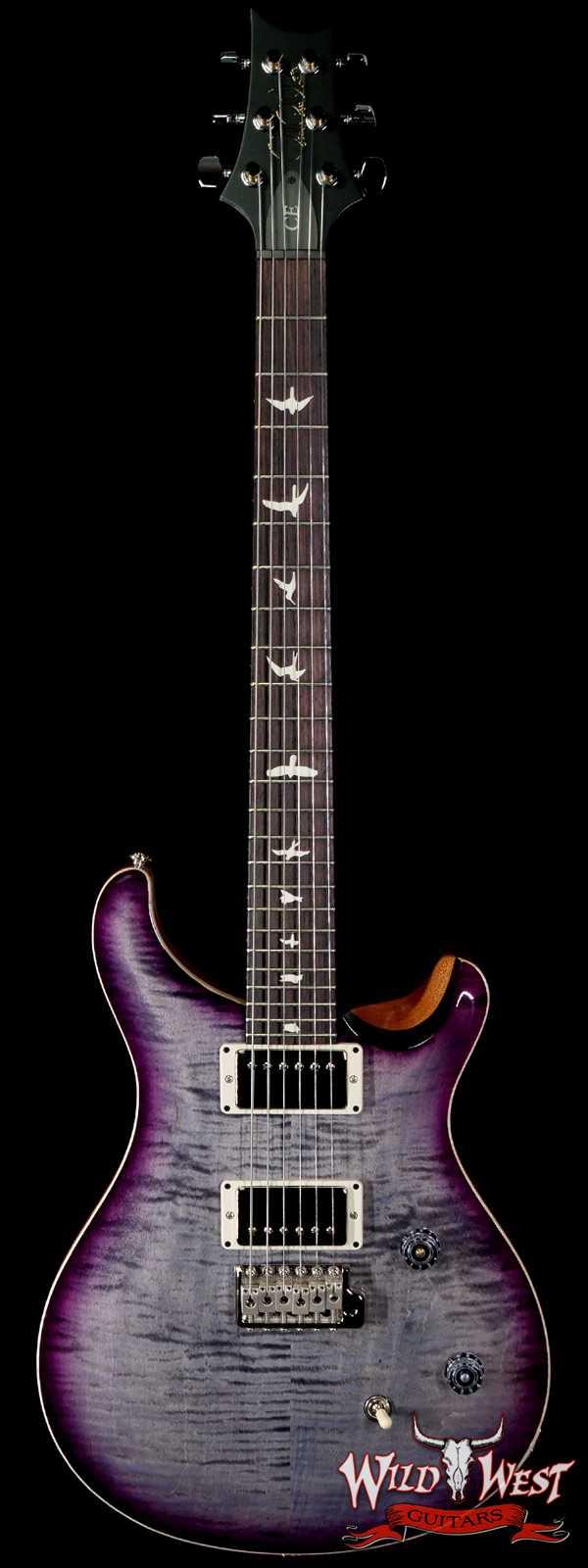 PRS Wild West Guitars Special Run Flame Top Black Neck CE 24 Faded Gray Black Purple Burst 317457