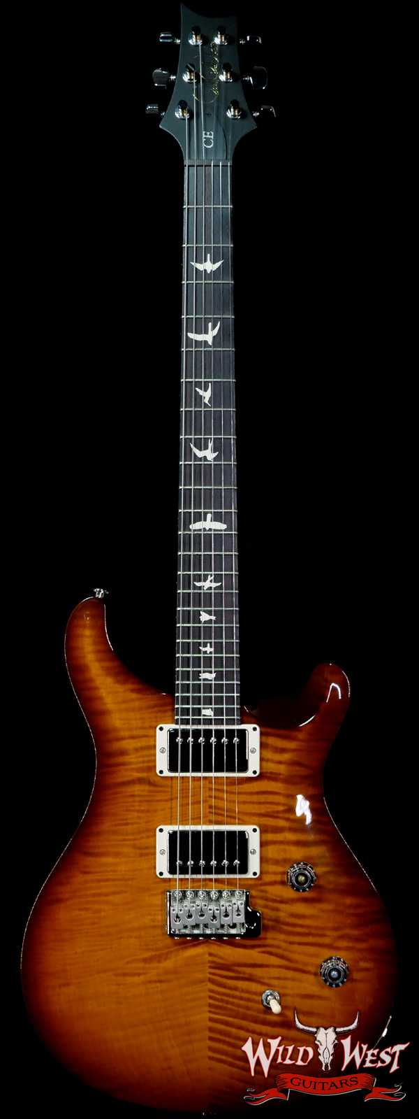 Paul Reed Smith PRS Wild West Guitars Special Run Flame Top Black Neck CE 24 Violin Amber Burst (Blemish)