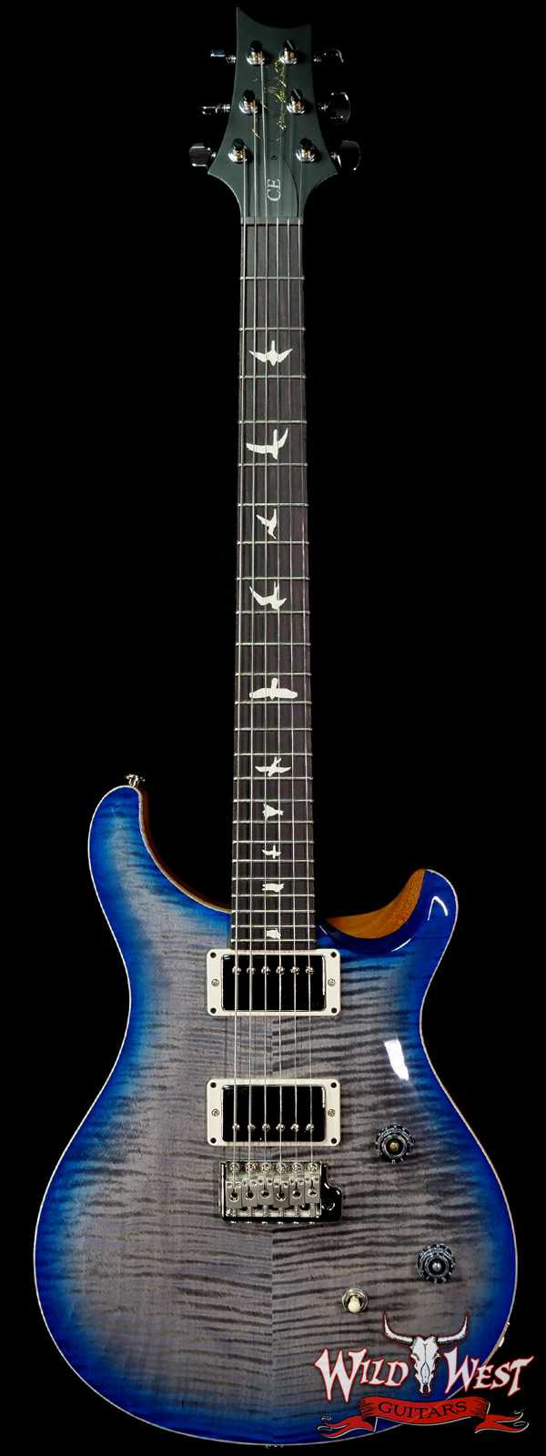 PRS Wild West Guitars Special Run Flame Top Black Neck CE 24 Faded Grey Black Blue Burst (Blemish)