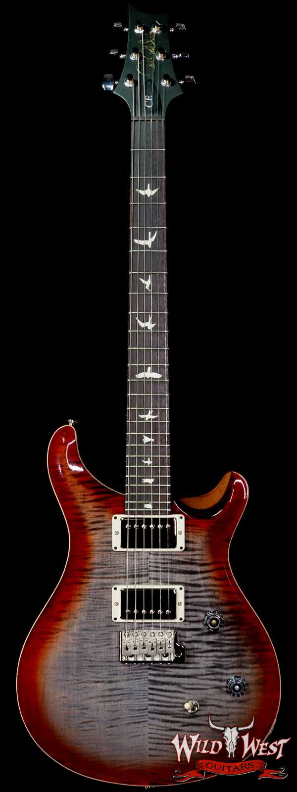 PRS Wild West Guitars Special Run Flame Top Black Neck CE 24 Faded Gray Black Cherry Burst 315723