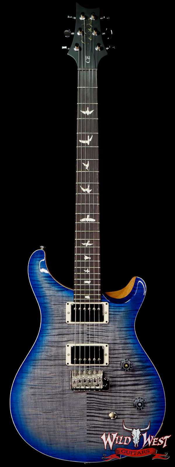PRS Wild West Guitars Special Run Flame Top Black Neck CE 24 Faded Grey Black Blue Burst 314459