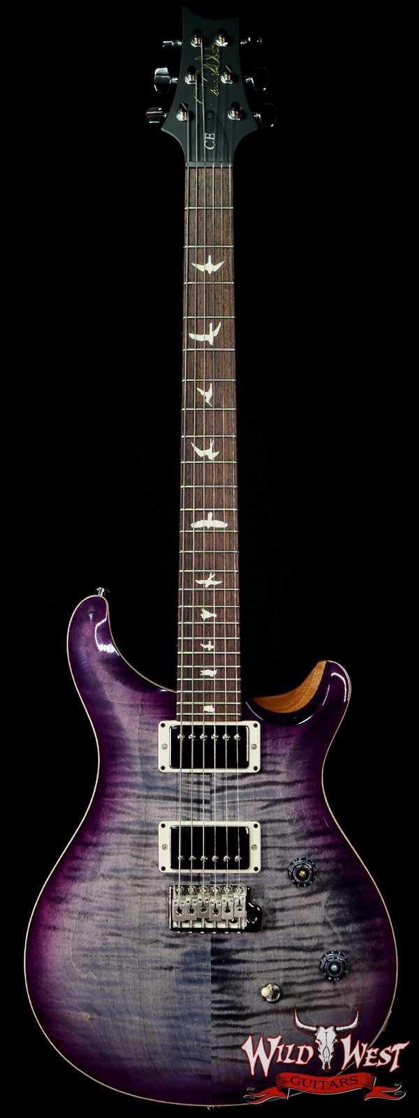 PRS Wild West Guitars Special Run Flame Top Black Neck CE 24 Faded Gray Black Purple Burst 314008