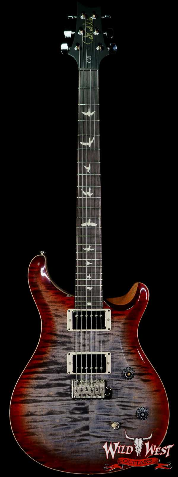 PRS Wild West Guitars Special Run Flame Top Black Neck CE 24 Faded Gray Black Cherry Burst 316906