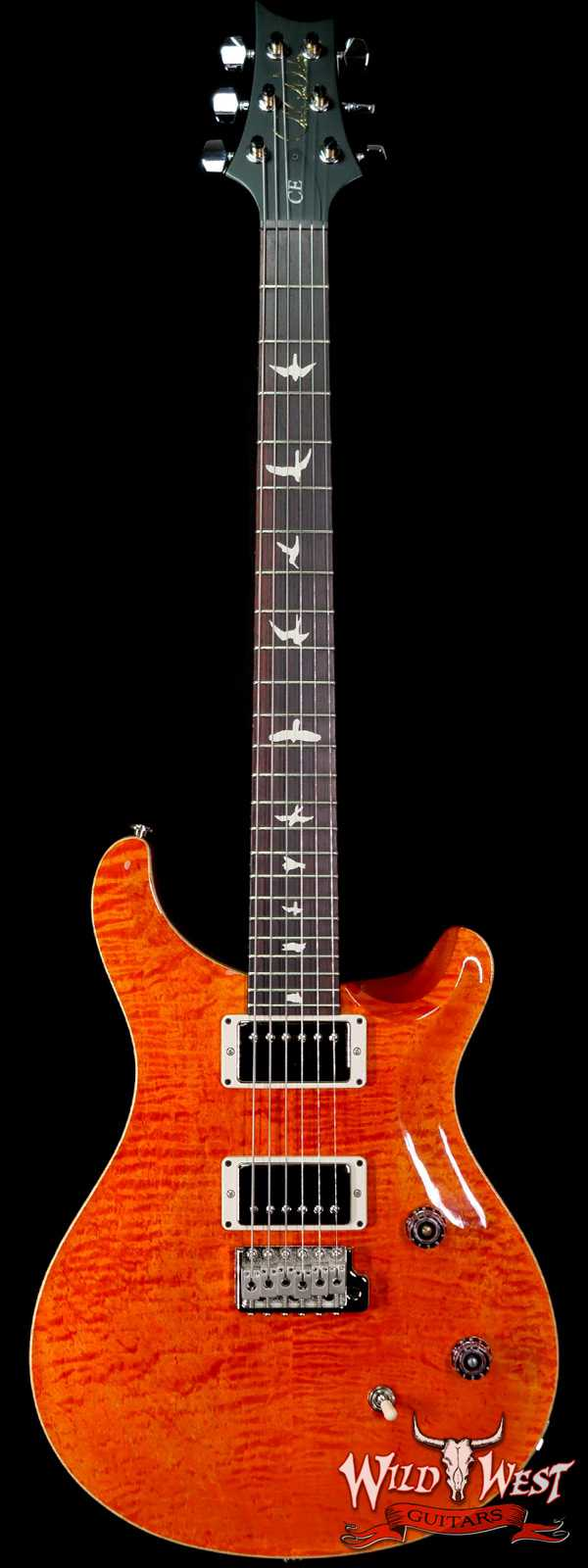 Paul Reed Smith PRS Wild West Guitars Special Run Flame Top Black Neck CE 24 Orange