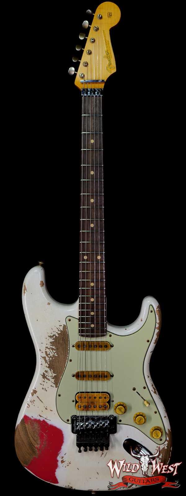 Fender Custom Shop Wild West White Lightning Stratocaster Floyd Rose Heavy Relic Rosewood Board 22 Frets Fiesta Red