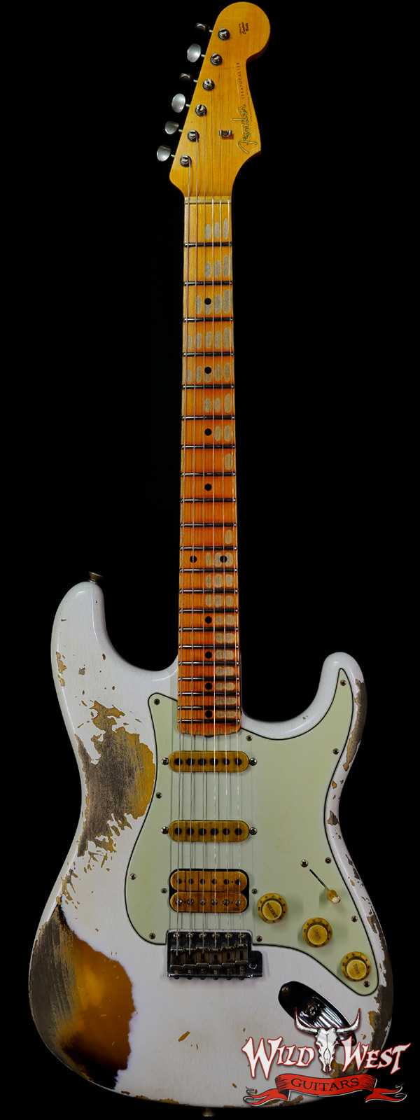Fender Custom Shop Wild West White Lightning Stratocaster 2.0 Heavy Relic Maple Board 2 Tone Sunburst