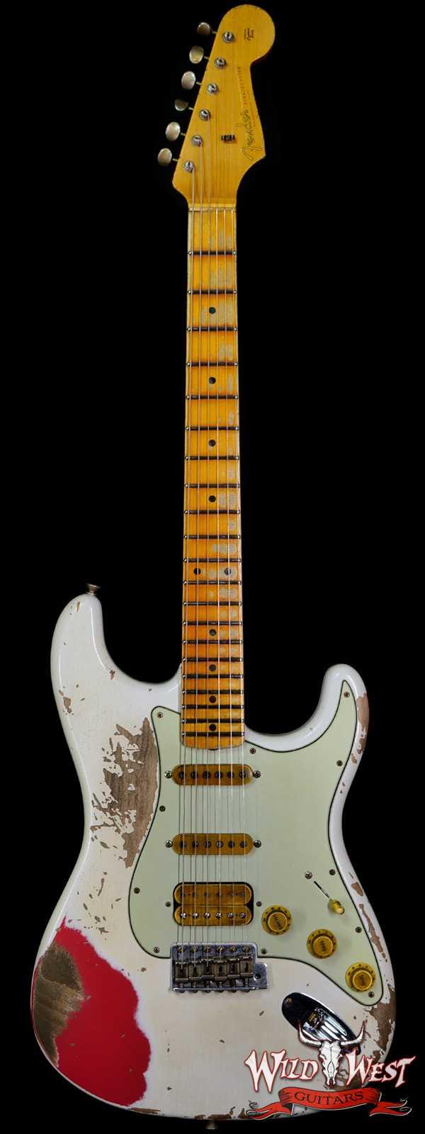 Fender Custom Shop Wild West White Lightning Stratocaster 2.0 Heavy Relic Maple Board Fiesta Red