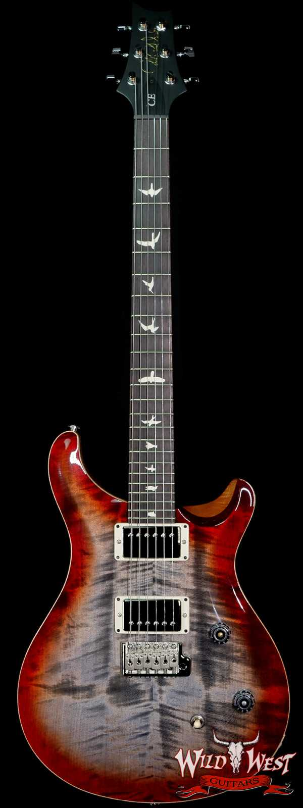 PRS Wild West Guitars Special Run Flame Top Black Neck CE 24 Faded Gray Black Cherry Burst 318382
