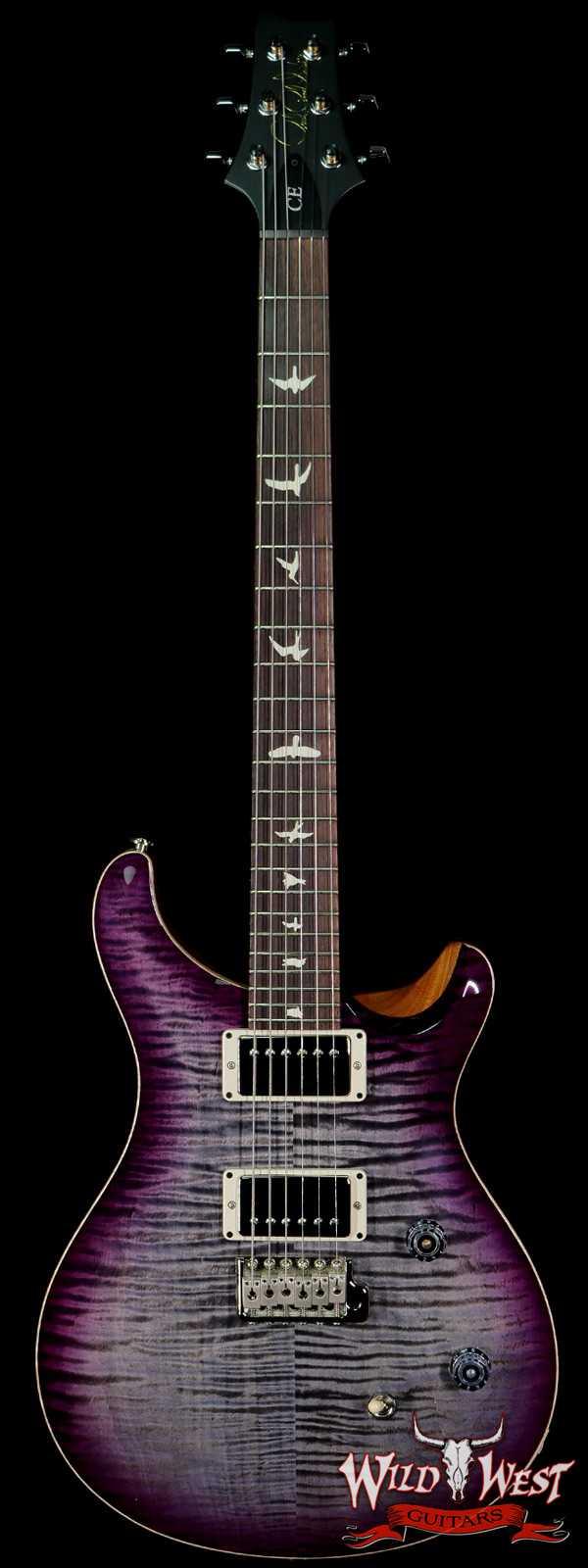 PRS Wild West Guitars Special Run Flame Top Black Neck CE 24 Faded Gray Black Purple Burst 318524