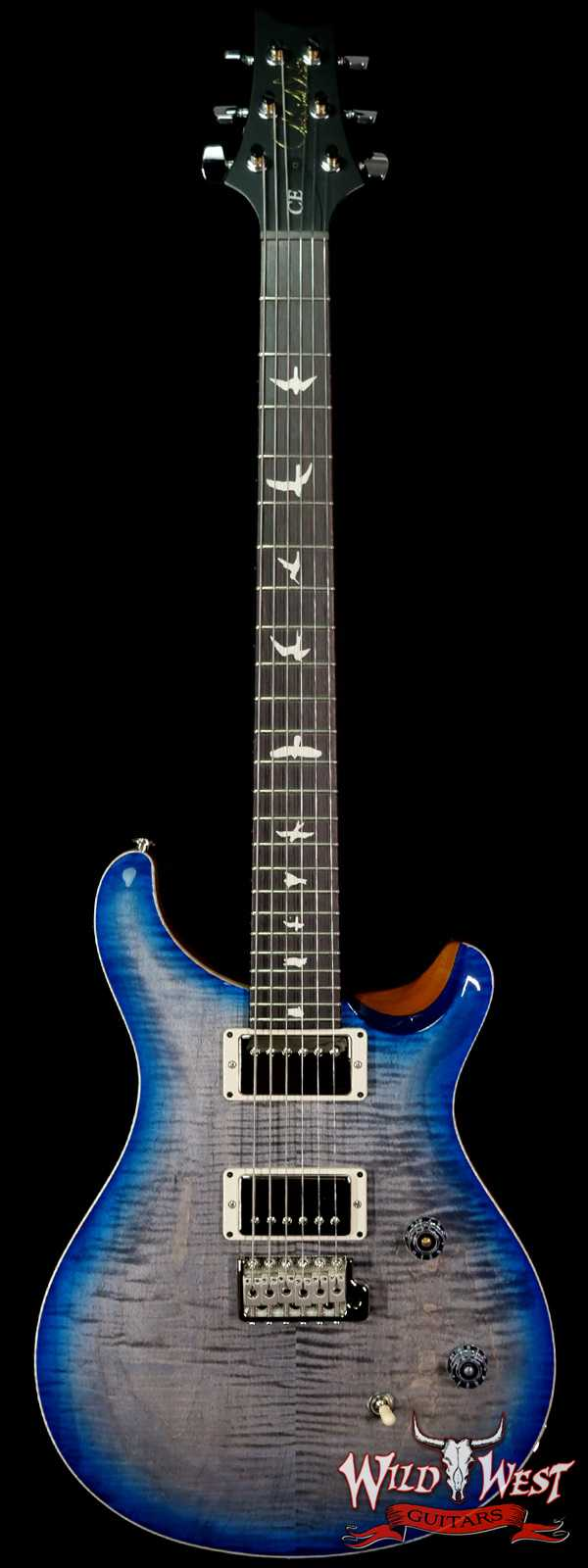 PRS Wild West Guitars Special Run Flame Top Black Neck CE 24 Faded Grey Black Blue Burst 316996