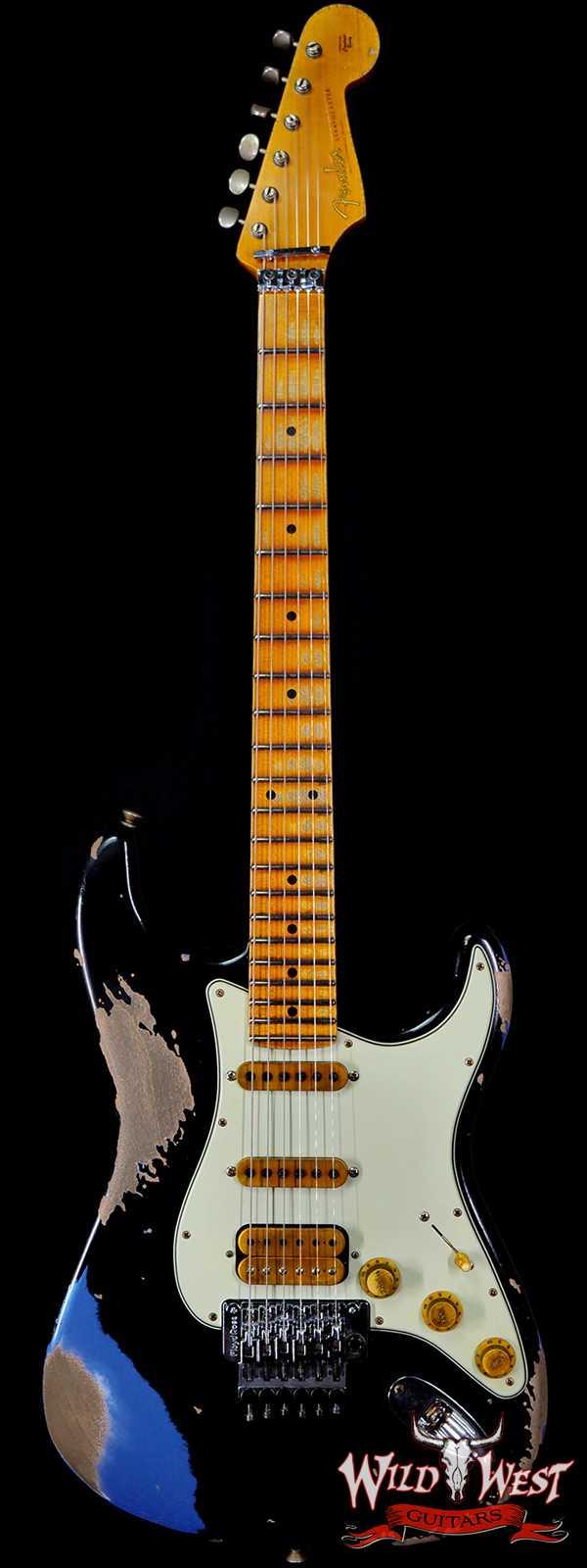 Fender Custom Shop Wild West Black Lightning Stratocaster Floyd Rose Heavy Relic Maple Board 22 Lake Placid Blue