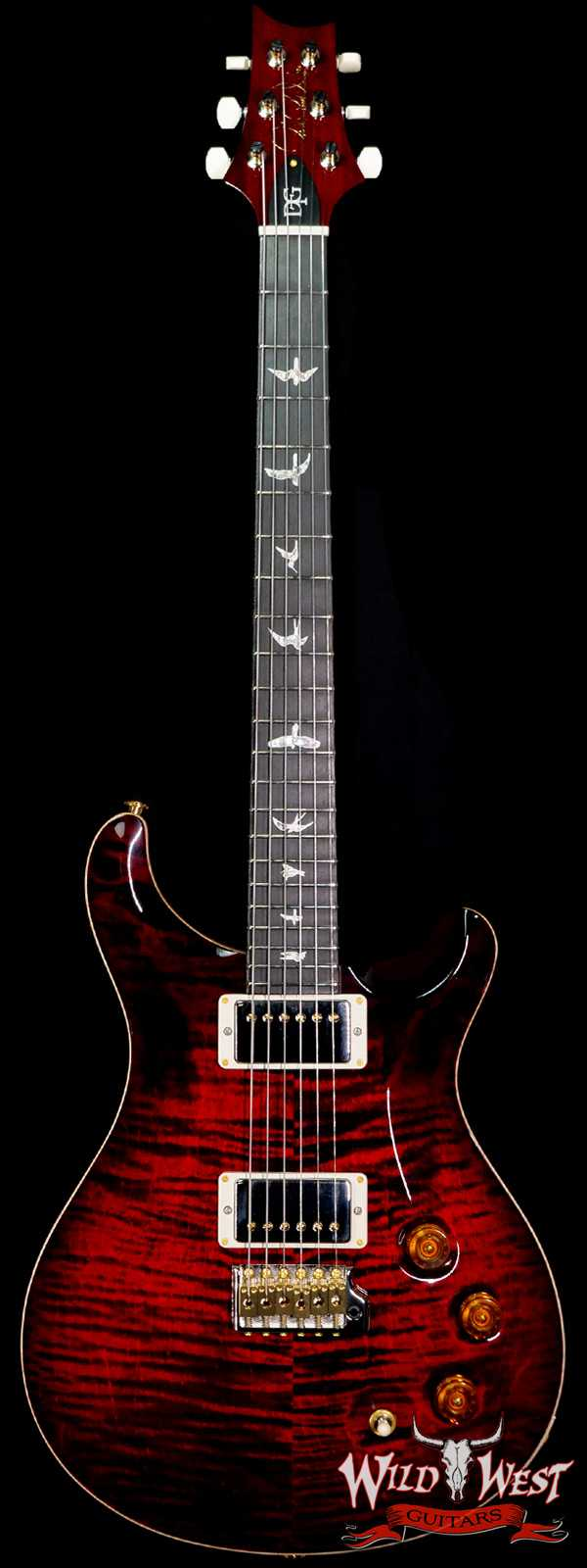 Paul Reed Smith PRS 10 Top David Grissom Trem Signature DGT Birds Inlay Fire Red Smokeburst