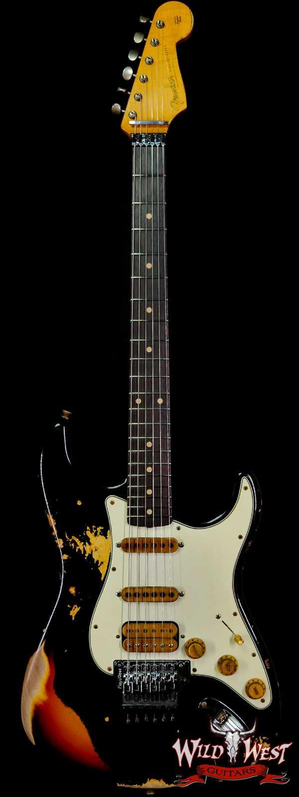 Fender Custom Shop Wild West Black Lightning Stratocaster Floyd Rose Heavy Relic Rosewood Board 3 Tone Sunburst