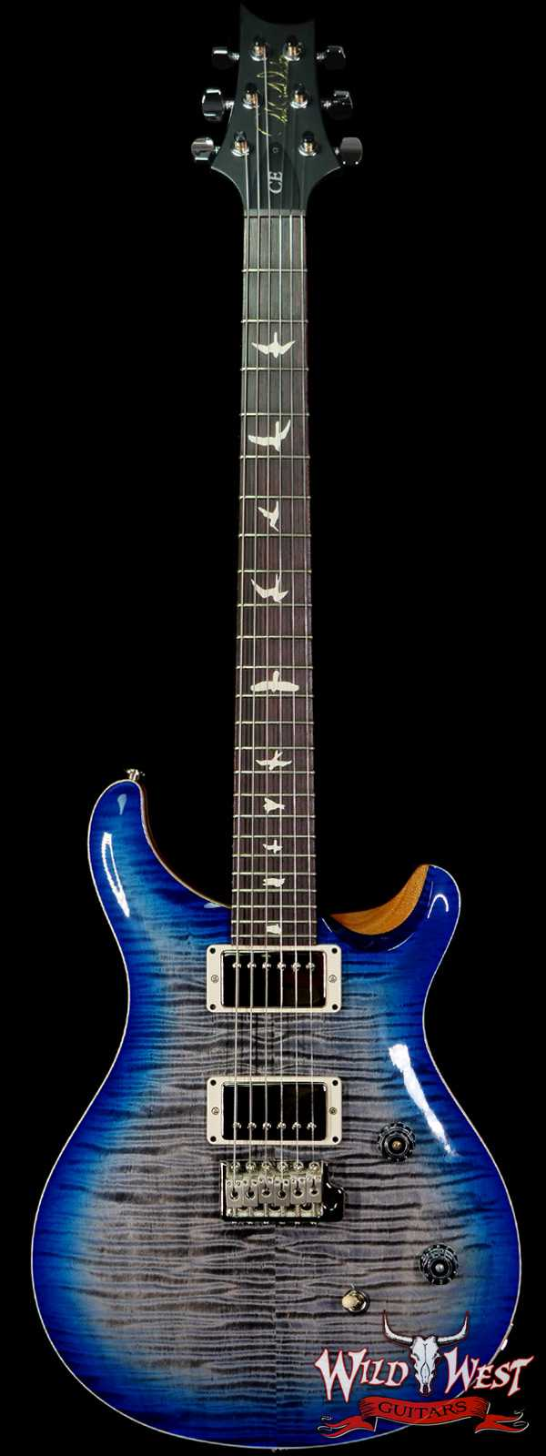 Paul Reed Smith PRS Wild West Guitars Special Run Flame Top Black Neck CE 24 Faded Grey Black Blue Burst 318380