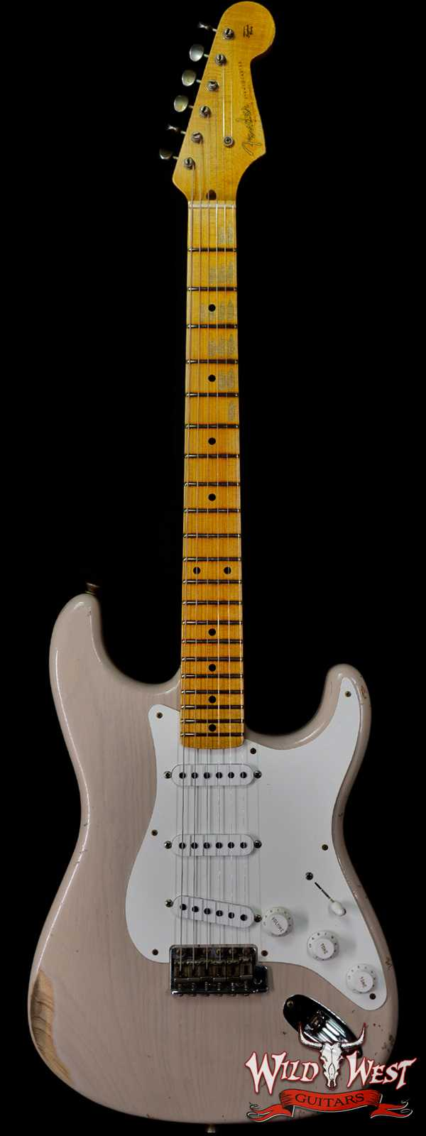 Fender Custom Shop 55' Stratocaster Relic Quatersawn Maple Neck Hand-wound Pickups Dirty White Blonde