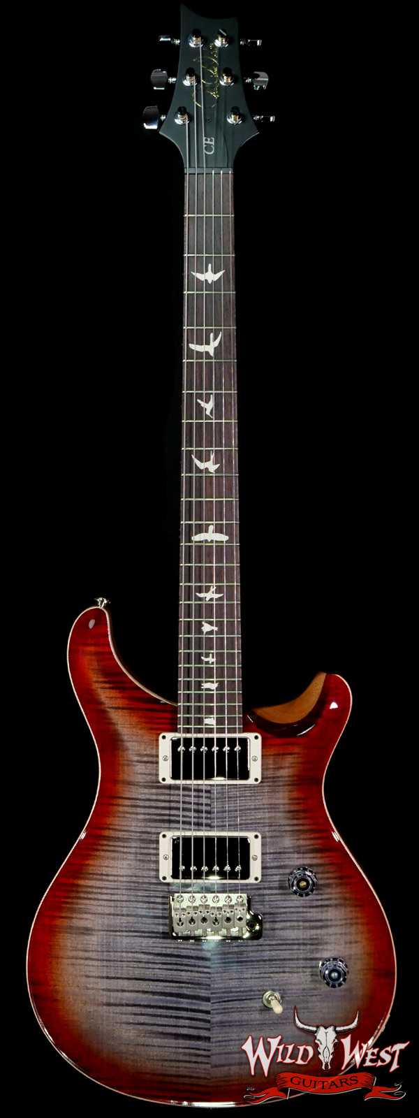 PRS Wild West Guitars Special Run Flame Top Black Neck CE 24 Faded Gray Black Cherry Burst 318886