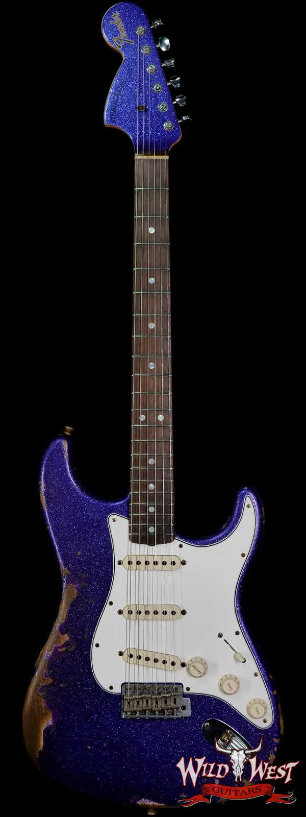 Fender Custom Shop 1969 Stratocaster Heavy Relic Reverse Matching Color Headstock Purple Sparkle