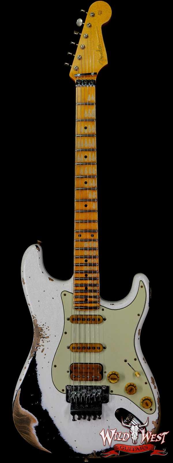 Fender Custom Shop Wild West White Lightning Stratocaster Floyd Rose Heavy Relic Maple Board 22 Frets Black