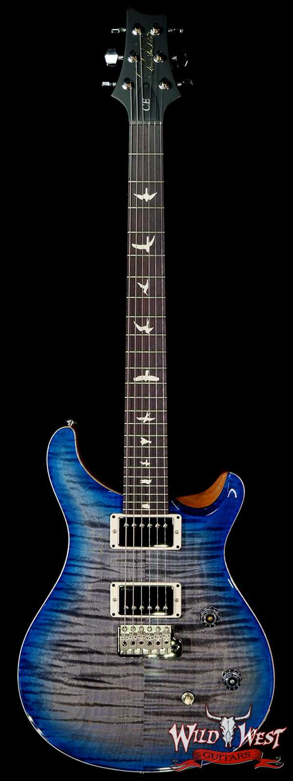 Paul Reed Smith PRS Wild West Guitars Special Run Flame Top Black Neck CE 24 Faded Grey Black Blue Burst 317888