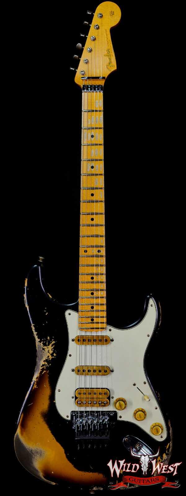 Fender Custom Shop Wild West Black Lightning Stratocaster Floyd Rose Heavy Relic Maple Board 2 Tone Sunburst
