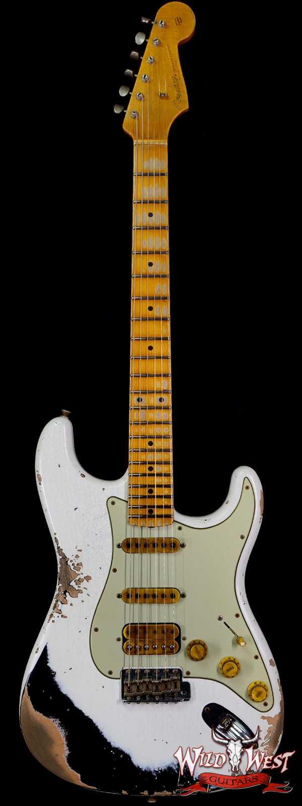 Fender Custom Shop Wild West White Lightning 2.0 Stratocaster Heavy Relic Maple Fingerboard 21 Frets Black