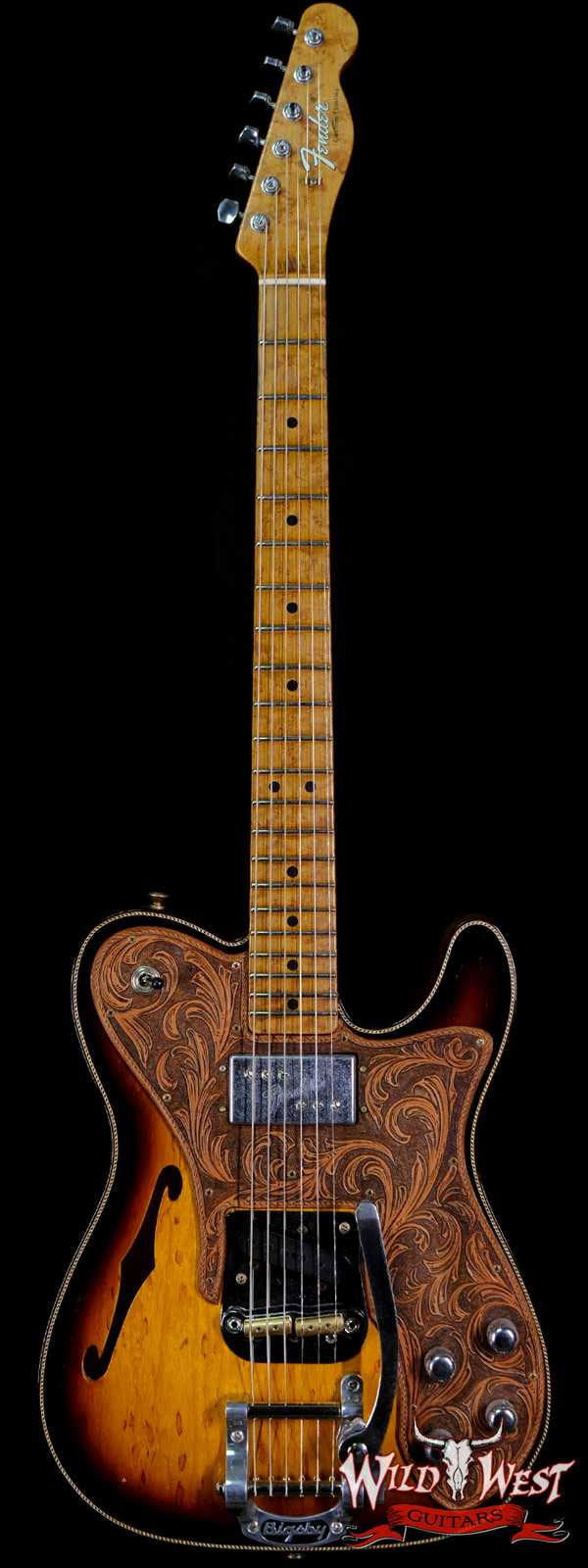 Fender Custom Shop Ron Thorn Masterbuilt 72 Telecaster Custom Thinline Bigsby Leather Tooled Pickguard by Beth Freeman Journeyman Relic 3 Tone Sunburst