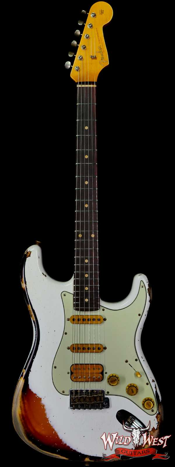 Fender Custom Shop Wild West White Lightning 2.0 Stratocaster HSS Heavy Relic Rosewood Board 22 Frets 3 Tone Sunburst