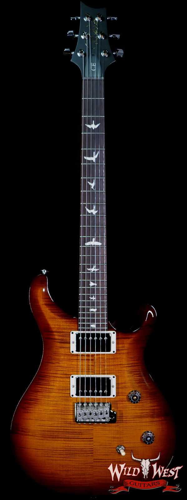PRS Wild West Guitars Special Run Flame Top Black Neck CE 24 57/08 Pickups Violin Amber Burst 322360
