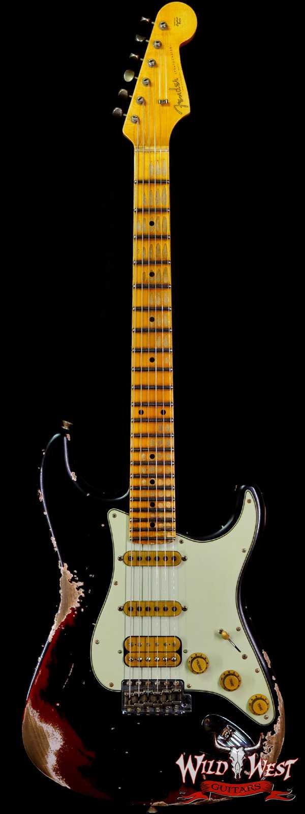 Fender Custom Shop Wild West Black Lightning 2.0 Stratocaster HSS Maple Board 22 Frets Heavy Relic Candy Apple Red