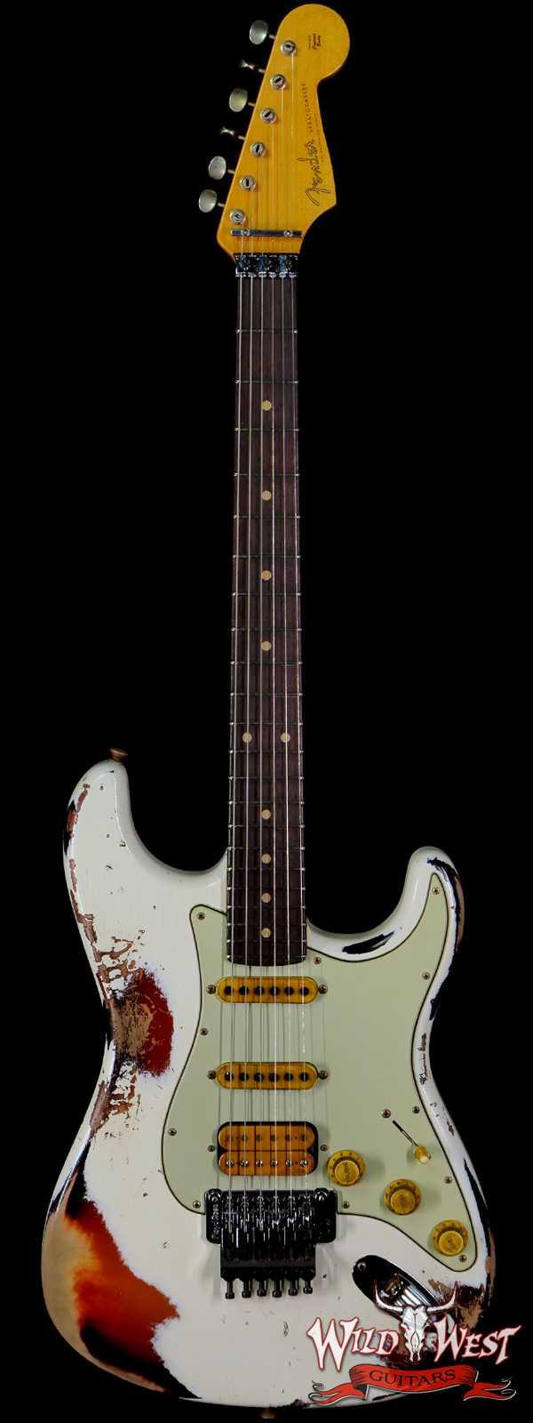 Fender Custom Shop Wild West White Lightning Stratocaster HSS Floyd Rose Rosewood Board 22 Frets Heavy Relic 3 Tone Sunburst