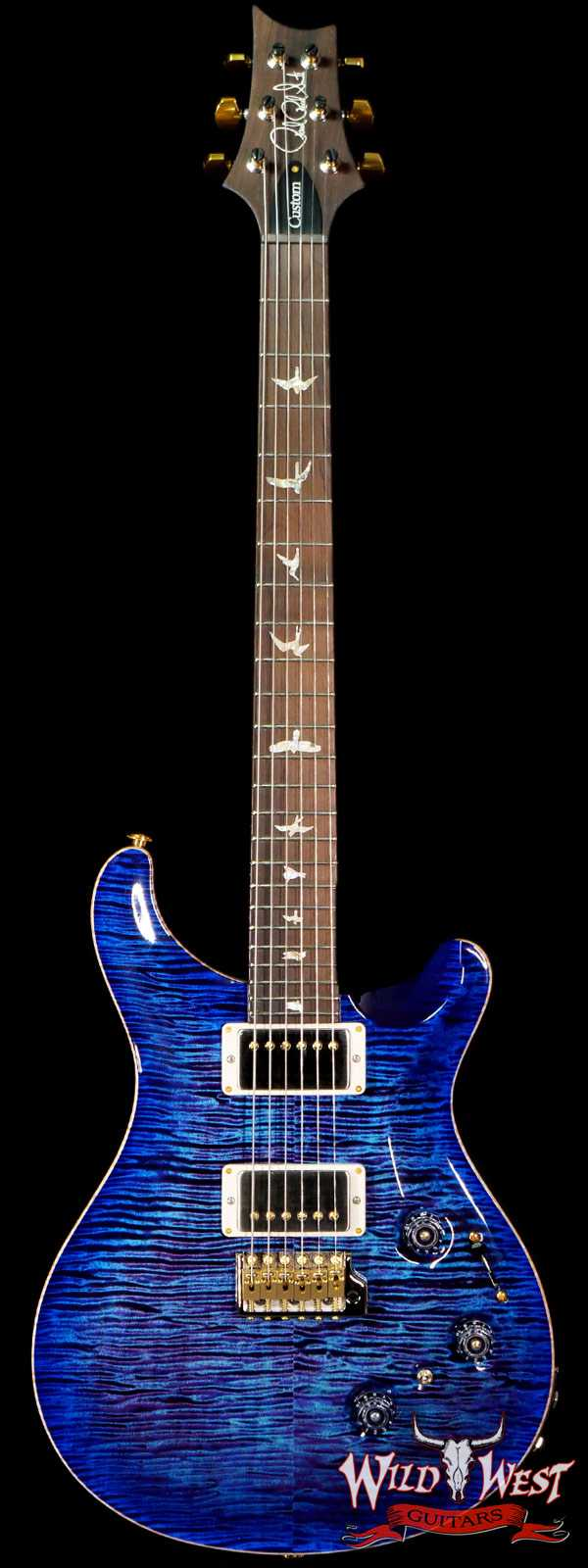 Paul Reed Smith Wood Library 10 Top Custom 24 Piezo P24 Flame Maple Neck Brazilian Rosewood Board Violet Blue Burst