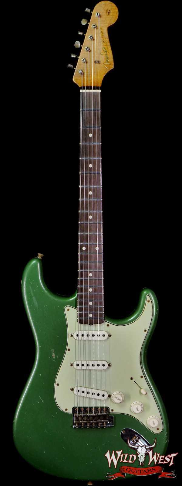 Fender Custom Shop Dennis Galuszka Masterbuilt Roasted 1959 Stratocaster Brazilian Rosewood Slab Board Hand-Wound PUs Journeyman Relic Aged Sage Green Metallic