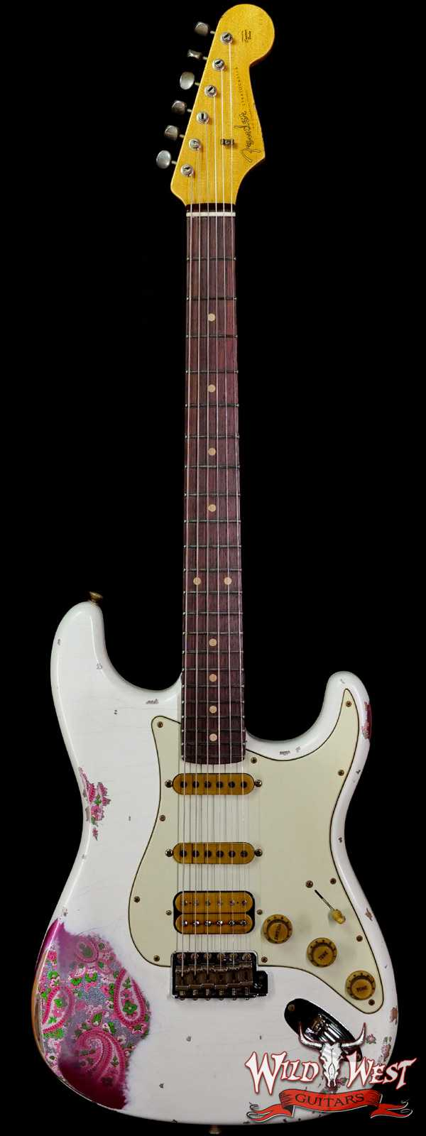 Fender Custom Shop Wild West White Lightning 2.0 Stratocaster HSS Rosewood Board 22 Frets Heavy Relic Pink Paisley
