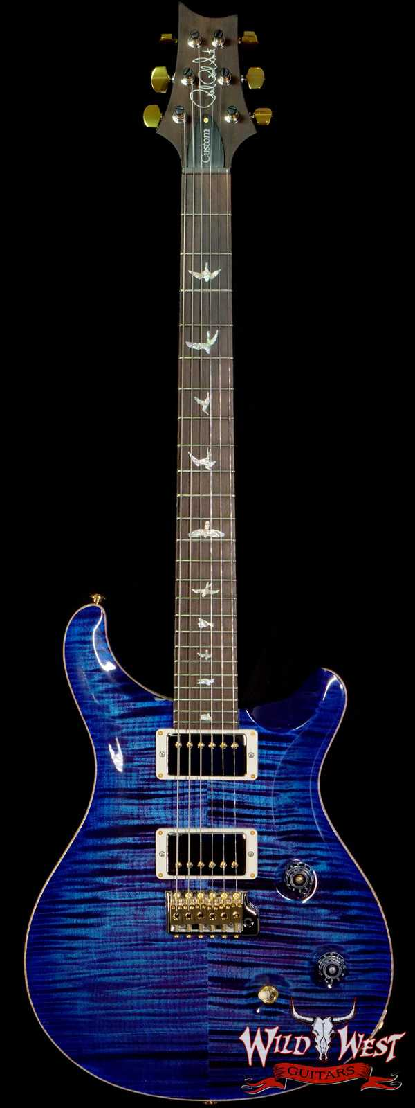 Paul Reed Smith PRS Wood Library 10 Top Custom 24 Pattern Thin Flame Maple Neck Brazilian Rosewood Board Violet Blue Burst