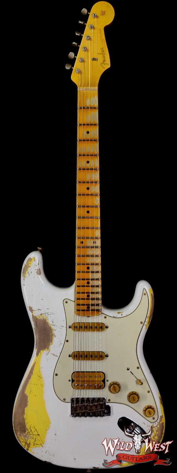 Fender Custom Shop Wild West White Lightning 2.0 Stratocaster HSS Rosewood Board 21 Frets Heavy Relic Graffiti Yellow