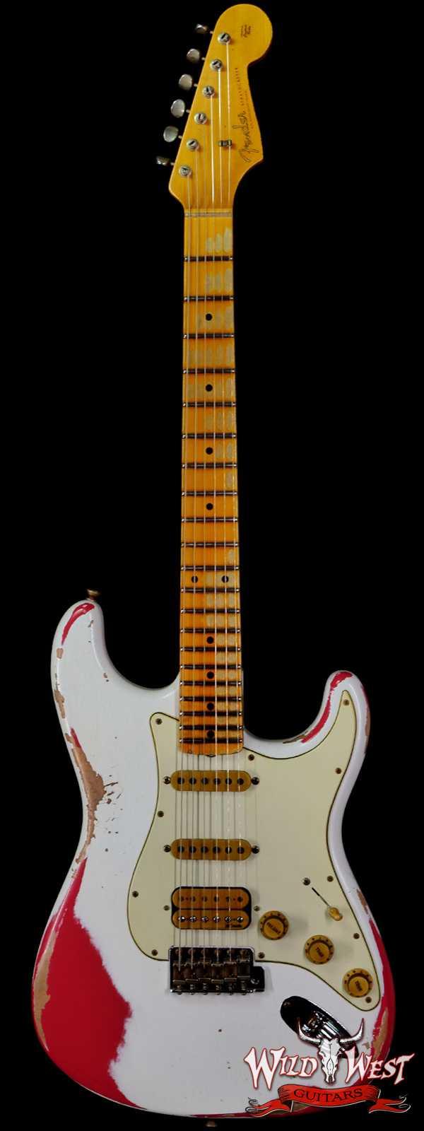 Fender Custom Shop Wild West White Lightning 2.0 Stratocaster HSS Maple Board 21 Frets Heavy Relic Fiesta Red