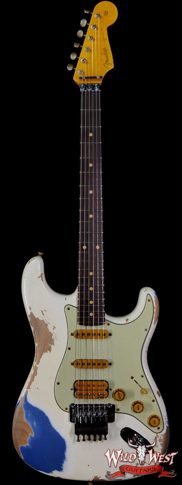 Fender Custom Shop Wild West White Lightning Stratocaster HSS Floyd Rose Rosewood Board 22 Frets Heavy Relic Lake Placid Blue