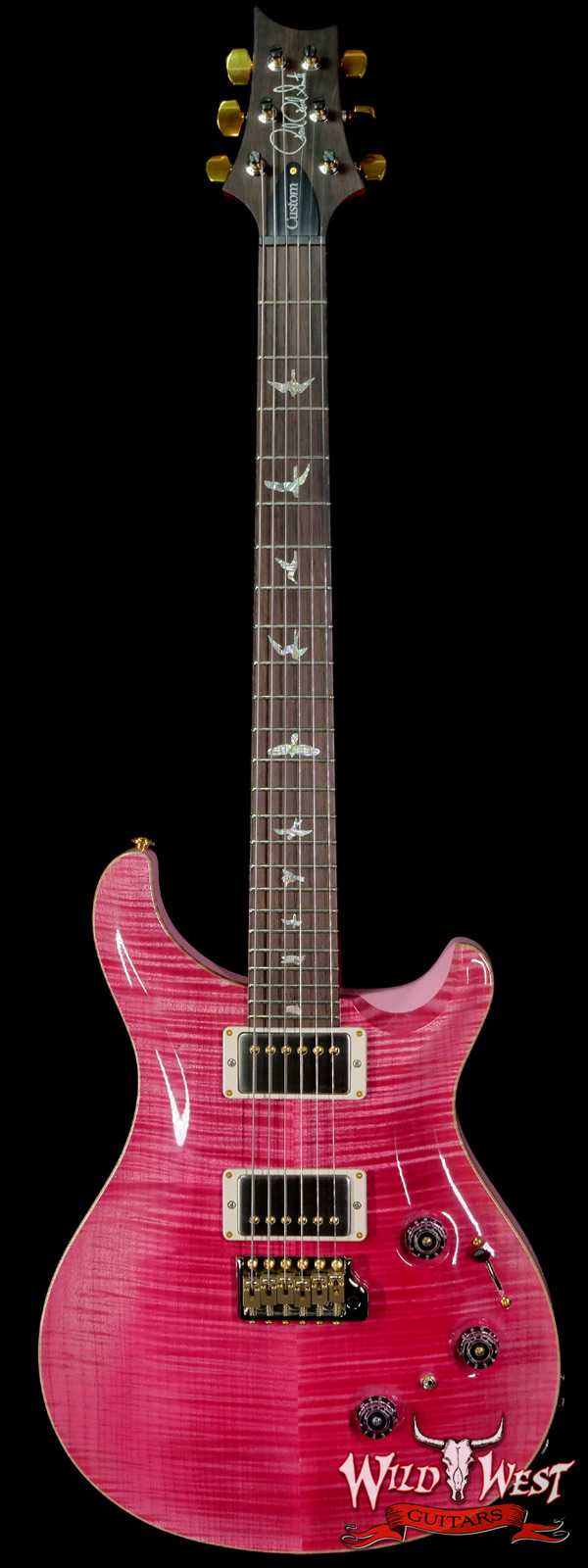 Paul Reed Smith Wood Library 10 Top Custom 24 Piezo P24 Stained Flame Maple Neck Brazilian Rosewood Board Bonnie Pink