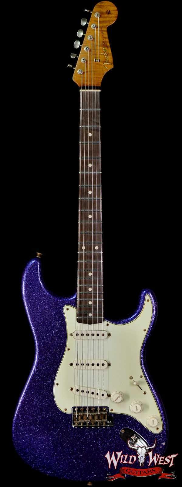 Fender Custom Shop Dennis Galuszka Masterbuilt Roasted 1959 Stratocaster Brazilian Rosewood Slab Board Hand-Wound PUs Journeyman Relic Purple Sparkle