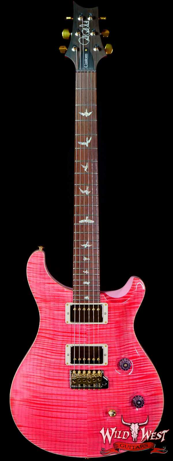 Paul Reed Smith Wood Library 10 Top Custom 24 Pattern Thin Flame Maple Neck Brazilian Rosewood Board Bonnie Pink