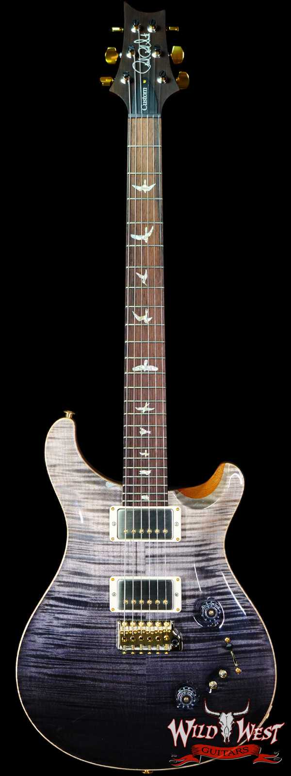 Paul Reed Smith Wood Library 10 Top Custom 24-08 Roasted Flame Maple Neck Brazilian Rosewood Board Grey Black Fade